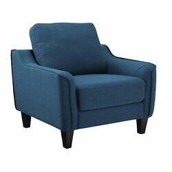 Fabric Upholstered Wooden Chair With Corner Blocked Frame Blue