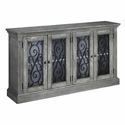 4 Door Cabinet With Glass Inserts And Metal Scrollwork Antique Gray