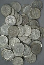 1962-d Roosevelt Silver Dimes Roll Of 50 - Cl-077