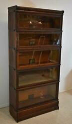Antique Oak Five Stack Barrister Bookcase By Globe Wernicke Banded Sides