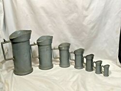 Antique Dutch Pewter Measuring Tankards Hallmarked Stamped Lot Of 7 Abcdfh