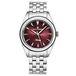 Revue Thommen Mens Heritage Red Dial Stainless Bracelet Automatic 21010.2136