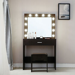 Vanity Set With 12led Lighted Mirror Cushioned Stool Dressing Makeup Table Black