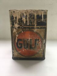 Vintage Gulf High Pressure Grease Tin Paint Can 8andrdquox7andrdquo
