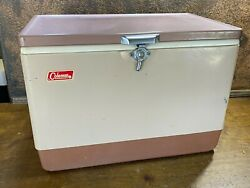 Vintage 1960s Steel Coleman Cooler Beige And Brown Beer / Camping Ice Chest