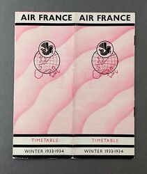 Air France Airline Timetable Winter 1933/34 Route Map Cabin Pic - Golden Clipper