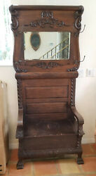 Antique American Early 19 C.oak Hall Tree W/ Claw Feet And Beveled Mirror
