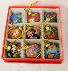 9 Cloisonne 1 1/2 Ball Christmas Ornaments Colorful Enamel And Metal In The Box