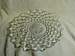 """Fostoria Glass American Cube Large Clear Serving Platter 12"""" Cake Plate 2"""