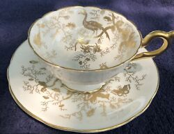 Coalport English Bone China Footed Tea Cup And Saucer Cairo White And Gold Mint