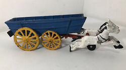 Antique Cast Iron Two Horses Drawn Blue Covered Wagon Toy