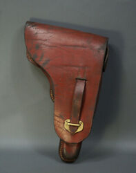 1943 Wwii German Army Wehrmacht Officers Luger Pistol Gun Brown Leather Holster