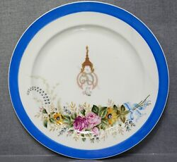 1930and039s Siam Queen Rambai Barni Monogram Porcelain Charger Plate Royal Vienna