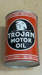 Vintage Cities Service Trojan One Quart Motor Oil Can Metal Gas Sign Fullnos