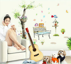 Removable Tree Bird Listining to Music Wall Sticker Wall Decal Home Decor DIY EH