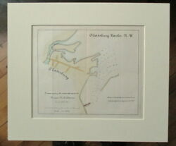 Vintage Nautical Map/chart Plattsburgh Harbor Ny 1887 Hand-colored And Matted