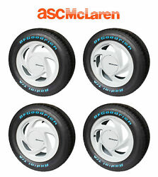 1989-1990 Asc Mclaren Mustang Oem White Wheels And Tires W/ Center Caps Set Of 4