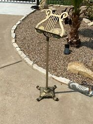 Vintage Brass Music Book Stand Ornate Lyre Harp Footed W Adjustable Height