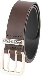 Men's 38mm Wide Two Prong Casual Leather Belt Brown