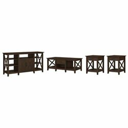 Key West Tv Stand With Coffee And End Tables In Bing Cherry - Engineered Wood