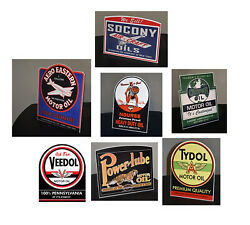 All Seven Oil Stand Up Ad Signs Socony Nouse Tydol Veedol Power Lube Aero