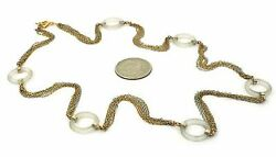 Camphor Glass Ring Station Multi-chain 14k Gold Necklace