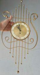 Mid Century Welby 8 Day Lyre Wall Clock Works 24 X 11.5