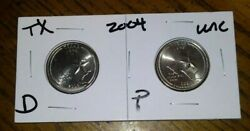 2004 D And P Mint - Texas - Uncirculated State Quarters - 2 Coin Set