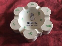 Herend 1930s Porcelain Handpainted Ashtray 15 Cms Diameter Base Stamp And Number