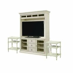 3 Piece Living Room Set With Tv Stand With Deck And 2 Chair Side Tables In Cotton