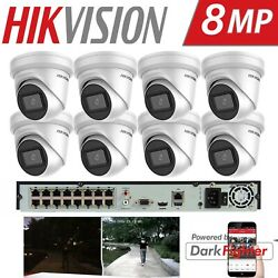Hikvision 4k 16ch Darkfighter 8mp Poe Turret Camera Home Commercial Cctv Systems