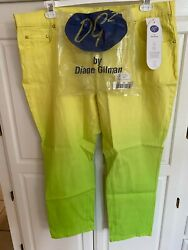 Dg2 Diane Gilman Jeans Ombre Size 20wp Yellow Lime Green Nwt 071105