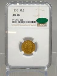 1836 2.50 Classic Head Gold Ngc Au58 Cac Early Us Gold Coin E17