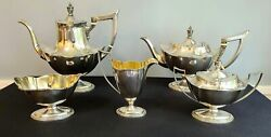 Gorham 5 Piece Sterling Plymouth Coffee And Tea Set 1911 Remarkable Condition