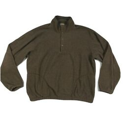 Ll Bean Sweaterfleece Pullover 1/4 Snap Menand039s Size Large Tall Lt Brown Usa Made