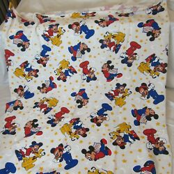 Vintage Disney Mickey Mouse Pluto Fabric Remnant 45 X 27 Plus Extra