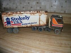 Vintage Metal Semi Tractor Trailer Truck Cab Toy Stokey Usa Cabover