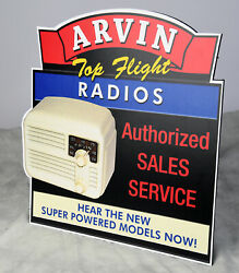 Arvin Radios Authorized Dealer Sales Service Stand Up Ad Sign Top Flight