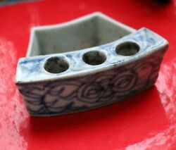 Antique Chinese Porcelain Blue And White Calligrapher Pen Inkwel Holder