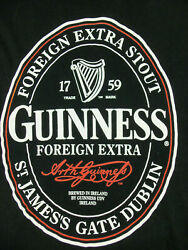 Mens T-shirt Guinness With Foreign Extra Stout Bottle Label Print L Large