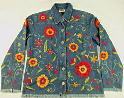 Chicoand039s Design Womenand039s Jacket Size 0 Denim Embroidered Fringe Floral All Over