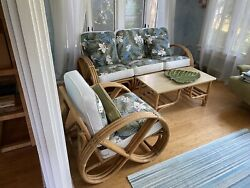 Vintage Rattan 4 Seat Furniture Set With Tables
