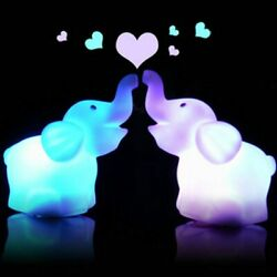 Animal Lamps 2pcs Cute Elephant Shaped Colorful Night Light Led 7 Color Changing