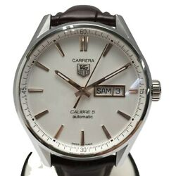 Tag Heuer Carrera War201d.fc6291 Automatic White Brown Ss Leather Round Mens 125