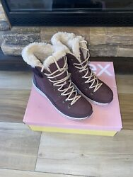 Aetrex Jodie Bb289 Wine Red Leather Suede Waterproof Boots Eu 39 170 New Us 8.5