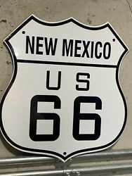 Large 13andrdquo U.s. Route 66 New Mexico Highway Heavy Porcelain Oil Gas Sign