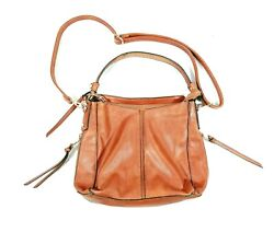 REALER Womens Brown Leather Detachable Straps Inner Pockets Crossbody Bags Sz OS $23.91