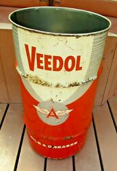 Vitage 40s 50s Advertising 15 Gal. Veedol Flying V Oil And Grease Barrel Can
