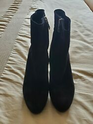Prada Womens Black Suede Sidezip Ankle Boots Size 8
