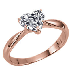 Heart Shaped Diamond Engagement Ring 1.00 Ct Solitaire Rose Gold Si2 06252585